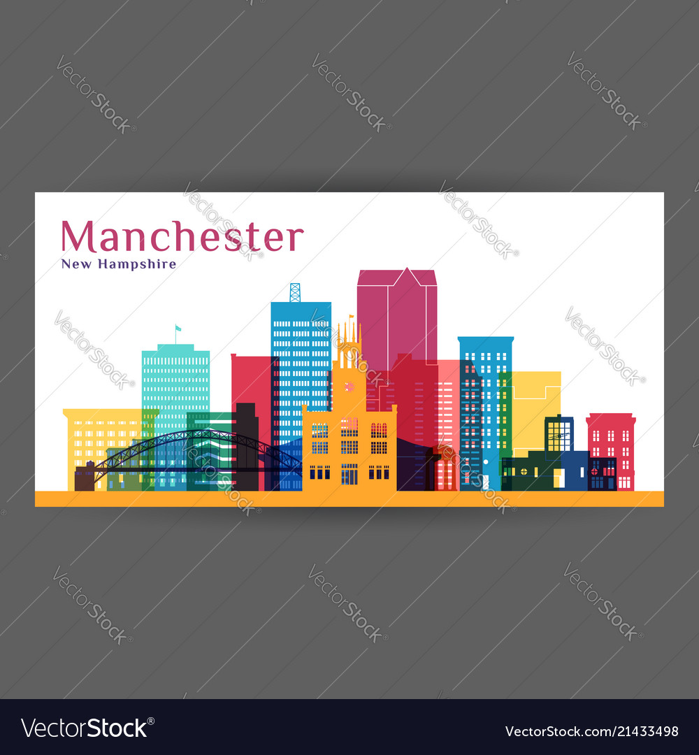 Manchester city architecture silhouette colorful