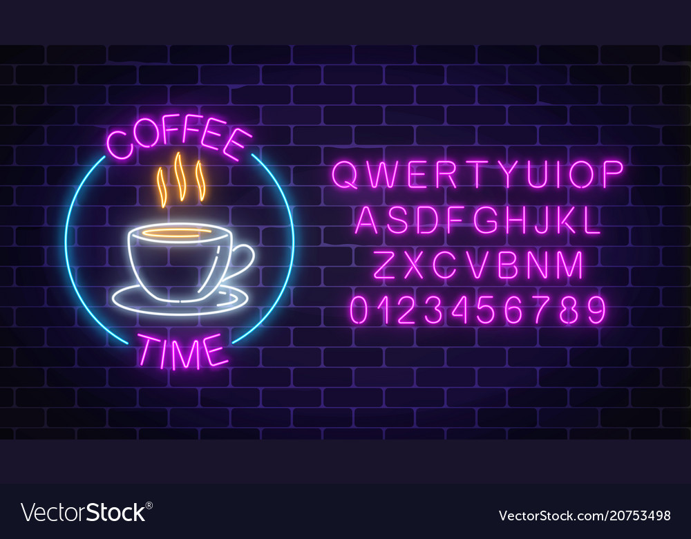 Neon coffee house signboard in circle frame with