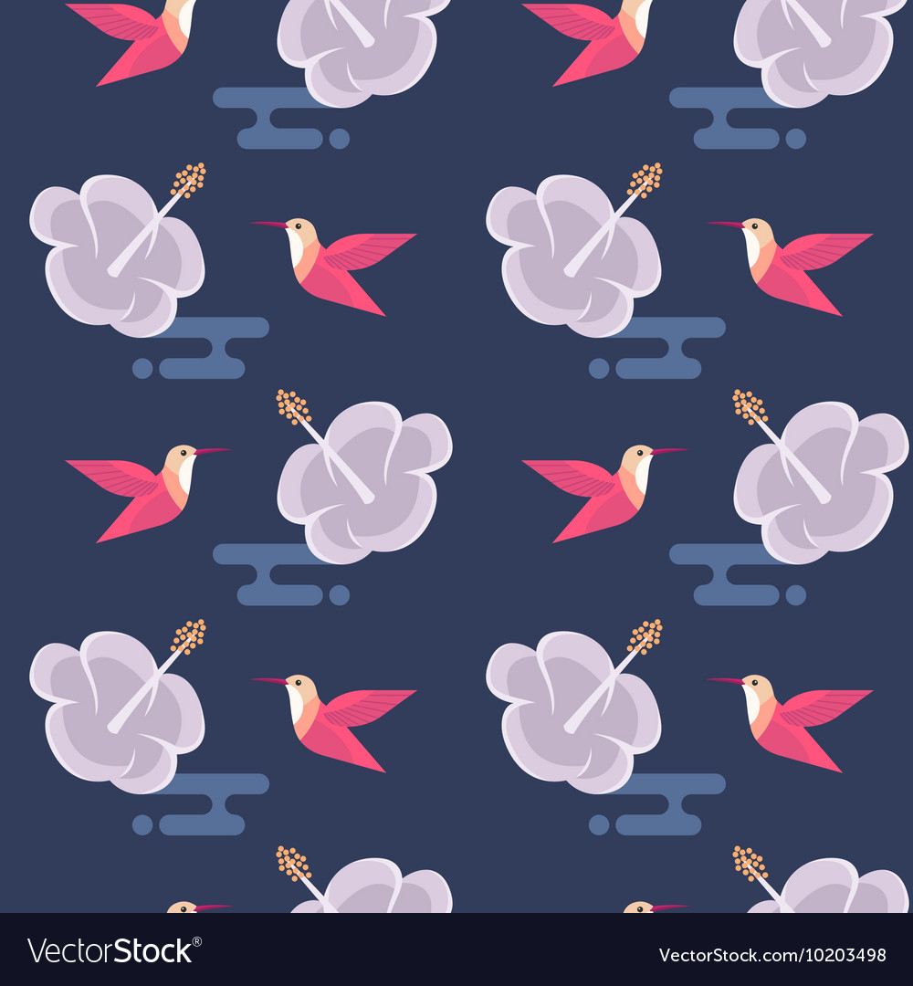 Seamless pattern with flowers and hummingbirds