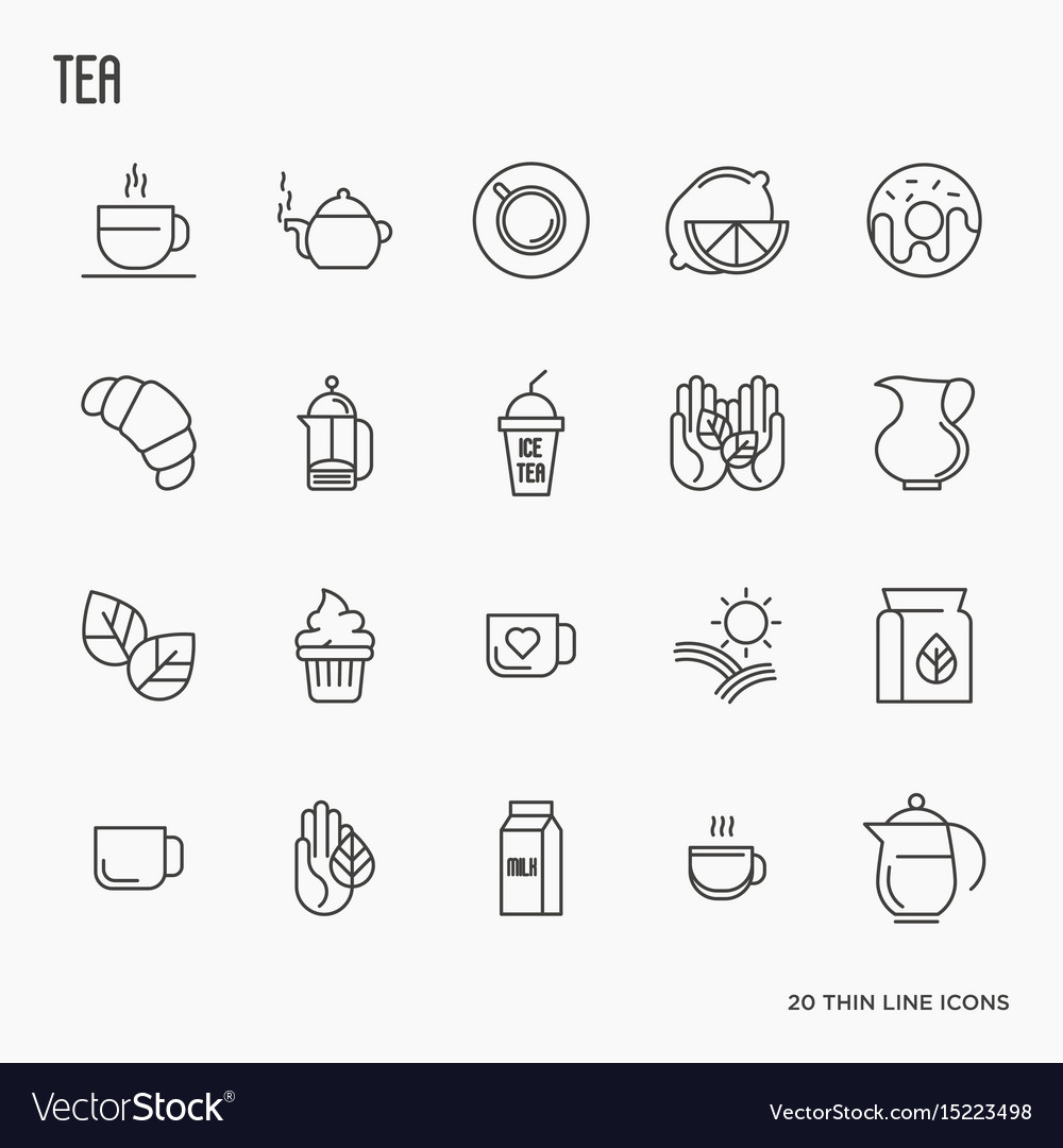 Set of tea and tea drinking related thin line icon