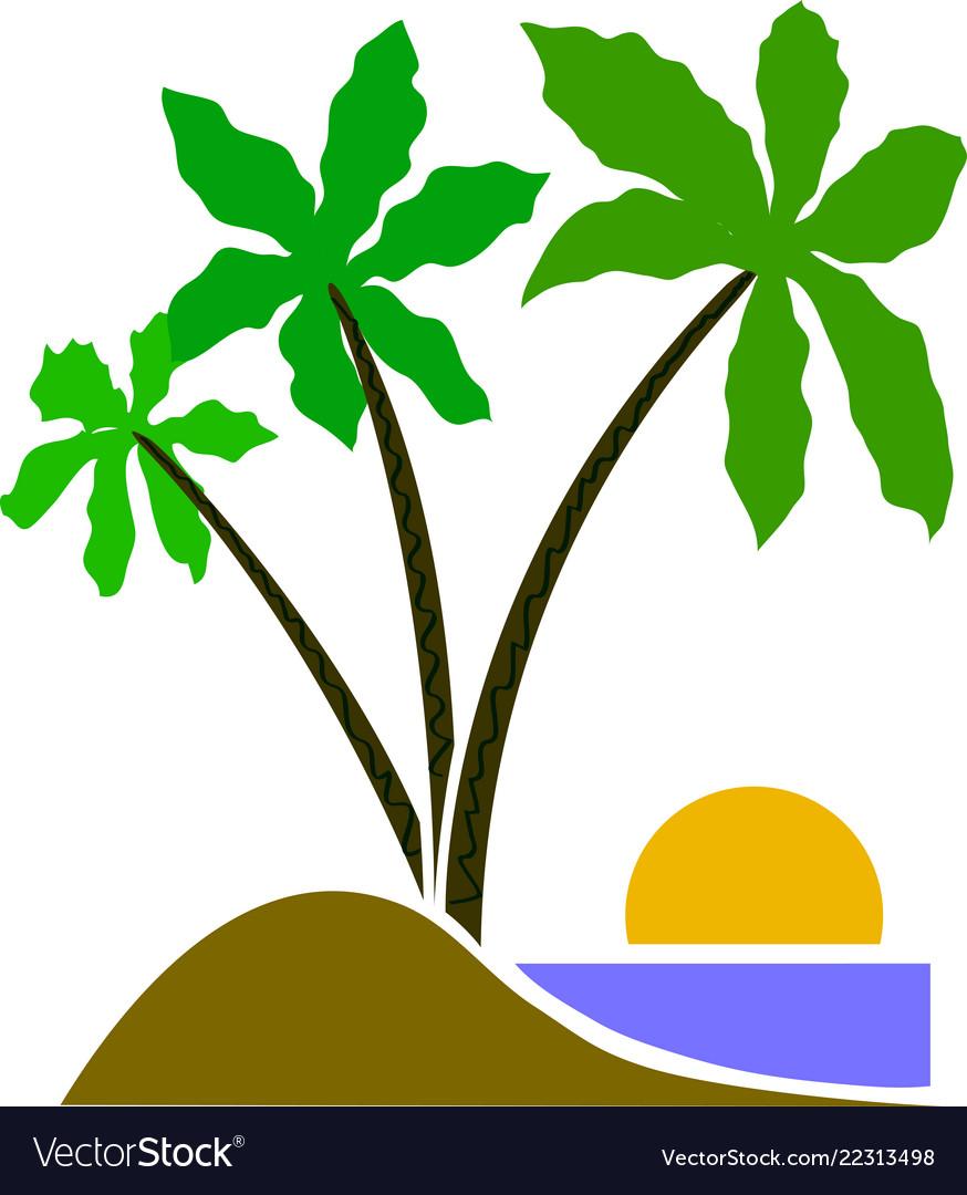 Three palm tree cartoon eps emblem
