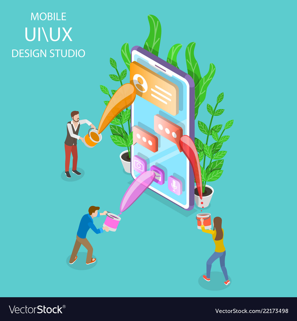 Ui and ux design studio isometric flat