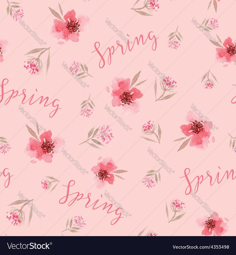 Watercolor flowers seamless pattern