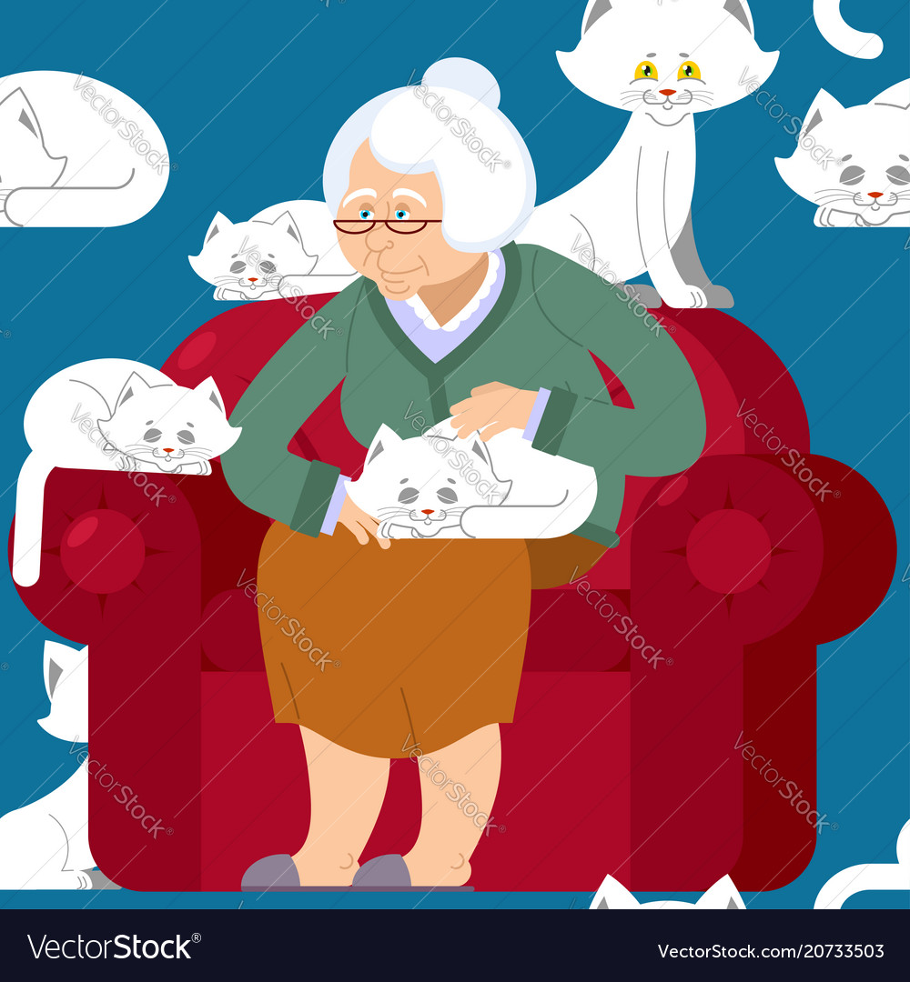 Cat lady pattern grandmother and cat sitting on