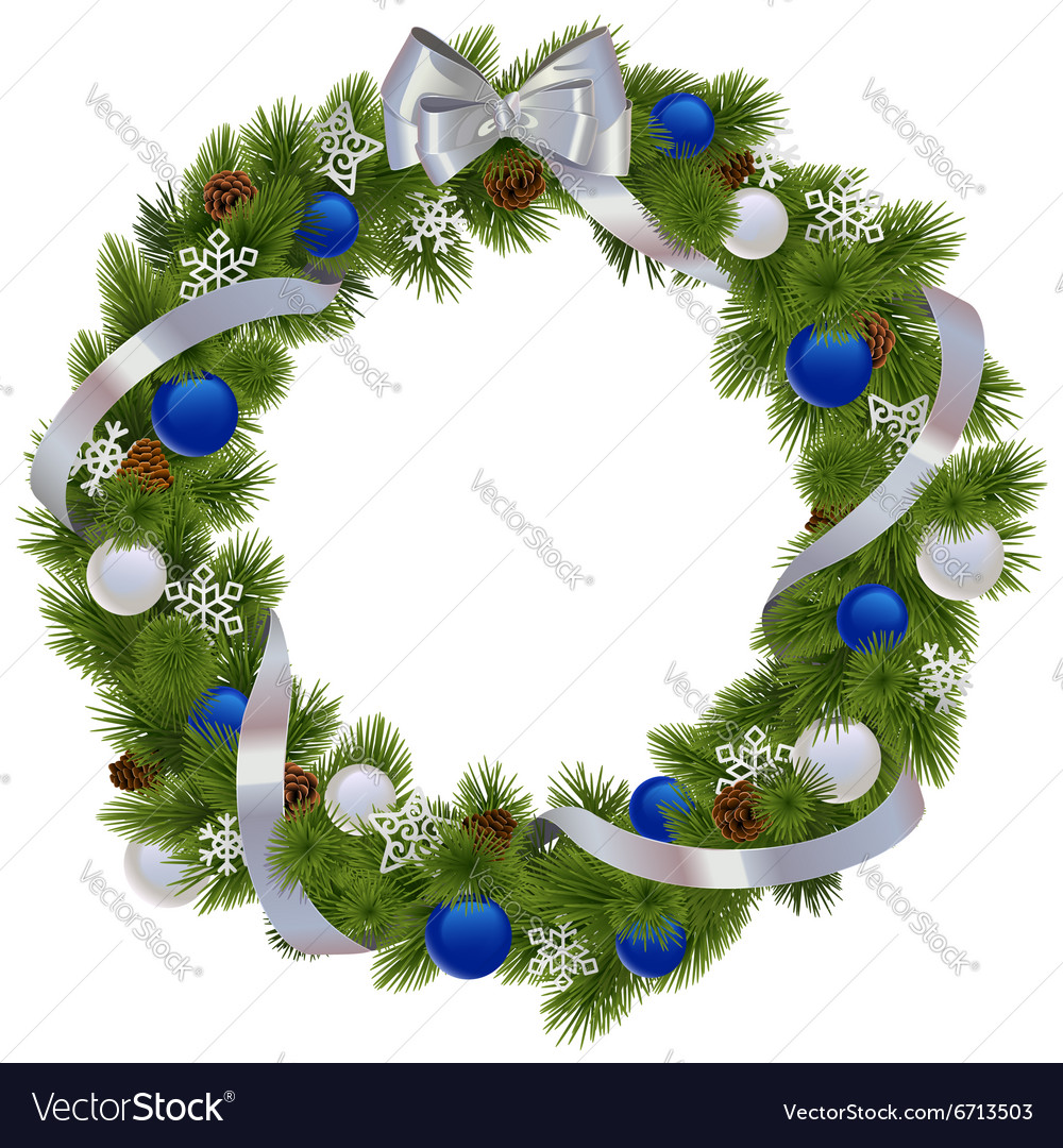 Christmas Wreath with Blue Decorations vector image