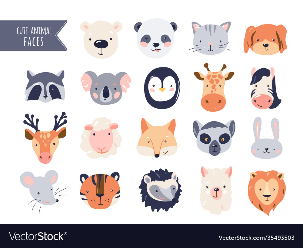 Cute animal baby faces set