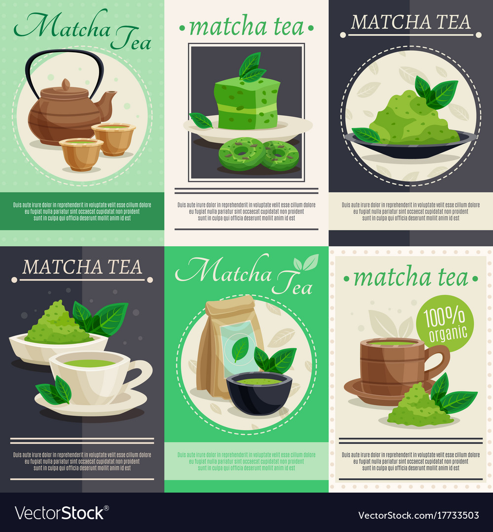 Green matcha tea mini banners