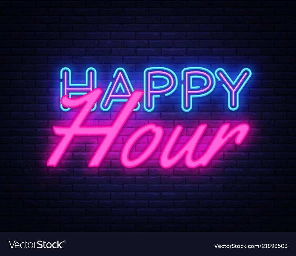 Happy hour neon text happy hour neon sign Vector Image