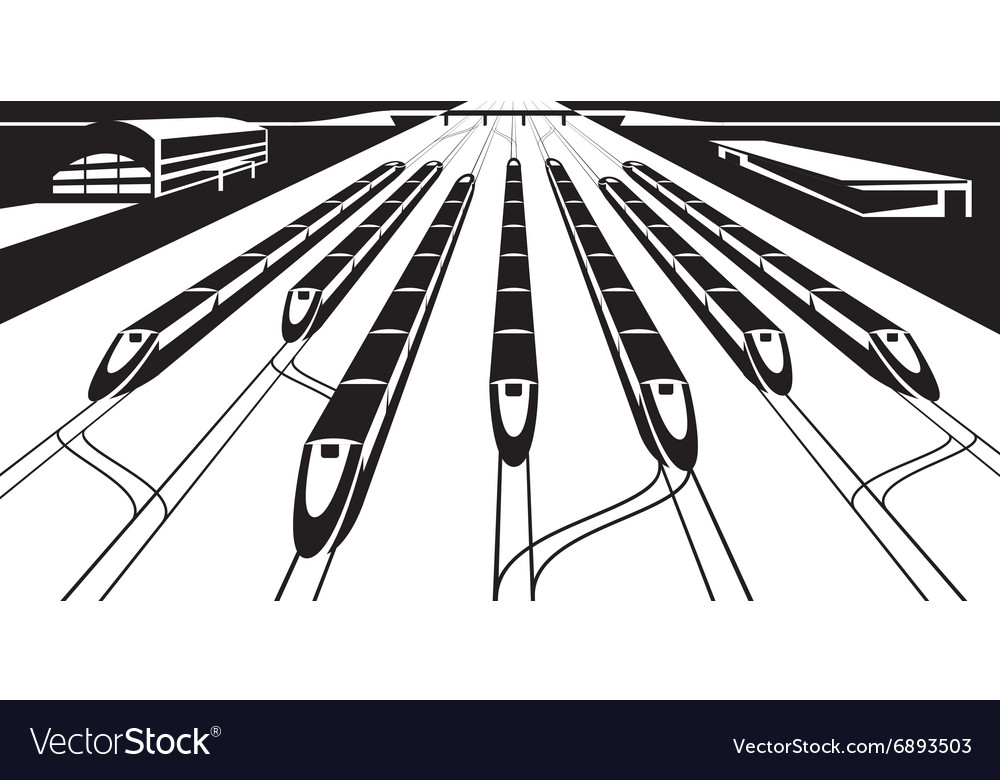 High-speed rail trains in perspective vector image