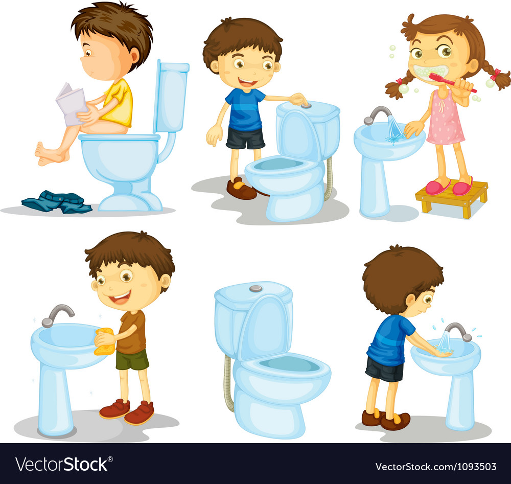 Kids and bathroom accessories Royalty Free Vector Image