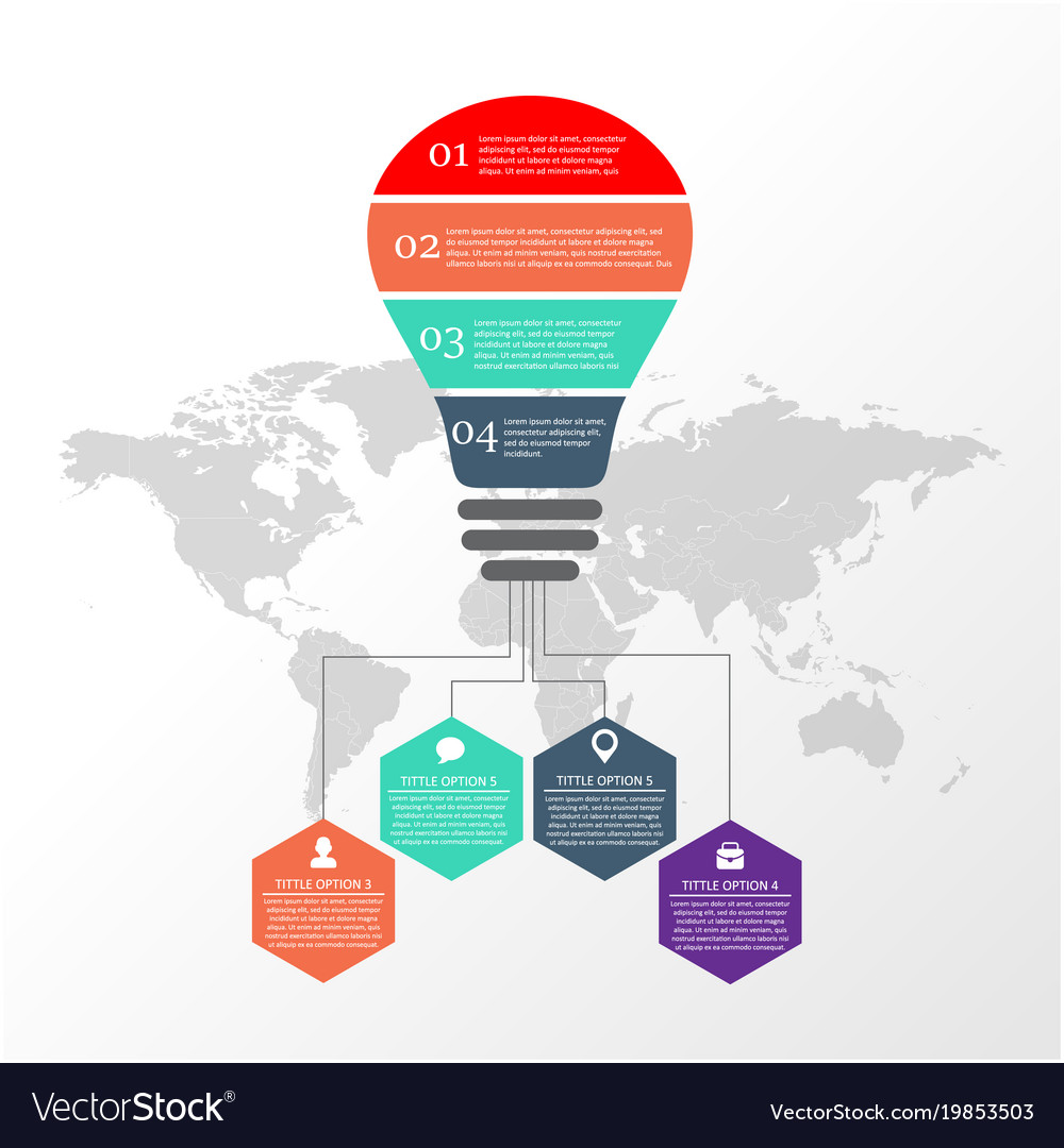 Light Bulb Infographic Template With 4 Opti Vector Image Idea For Creative Diagram
