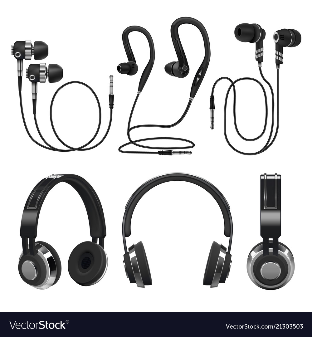 Realistic earphones wireless and corded music