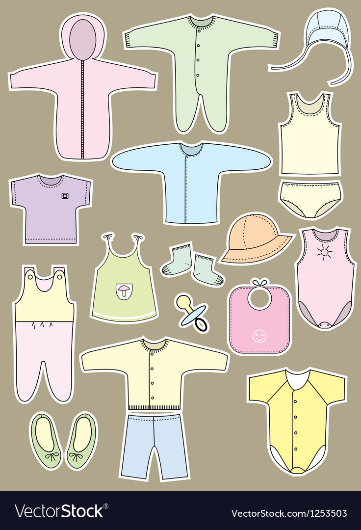 Retro Baby Clothes design vector image