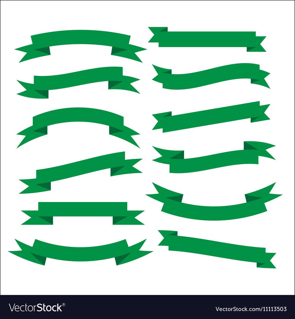 Set of beautiful festive green ribbons
