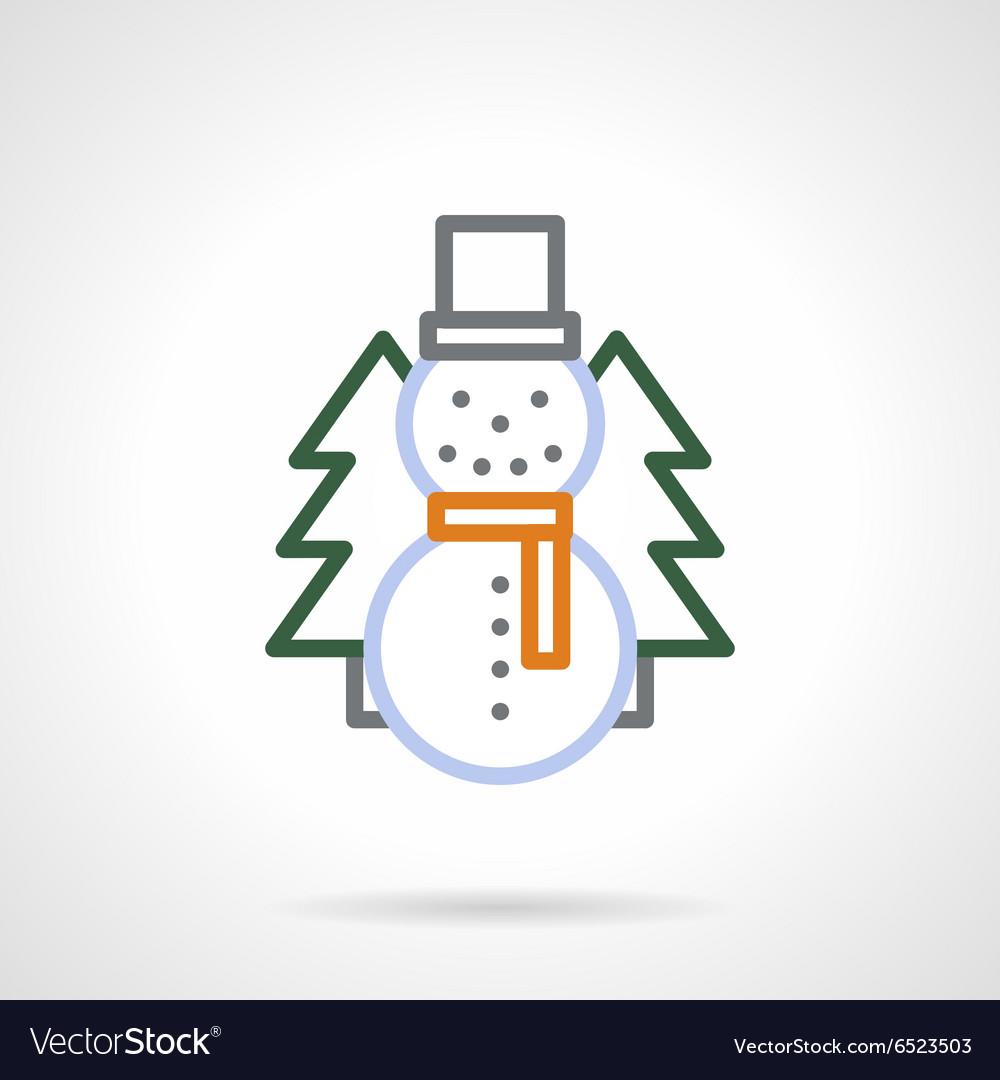 Snowman color line icon
