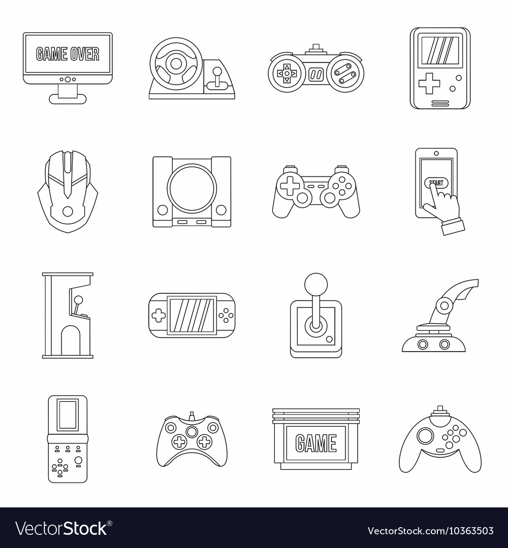 Video Game Set Outline Style Royalty Free Vector Image - Video game outline