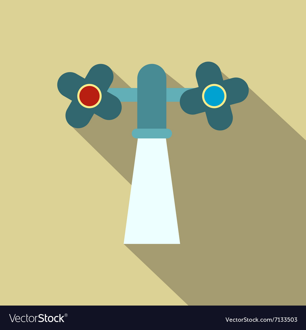 Water Tap With Knobs With Running Water Royalty Free Vector