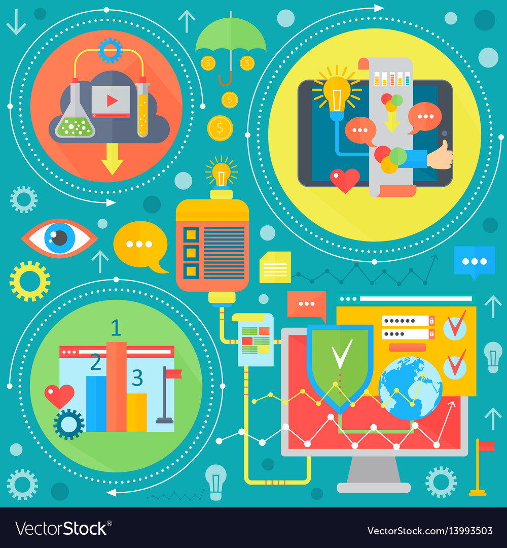 Web design and mobile phone services apps flat vector image
