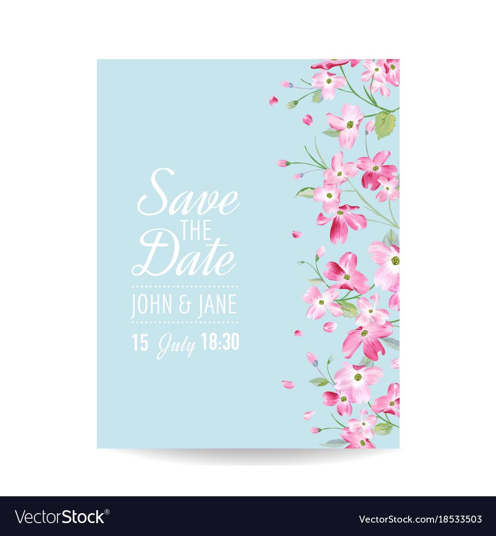 Wedding invitation spring cherry flowers