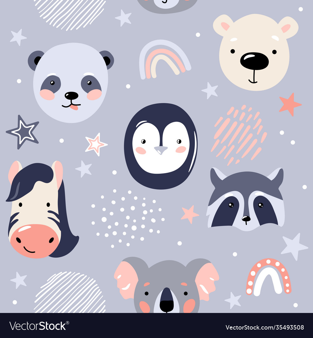 Animal baby faces seamless pattern