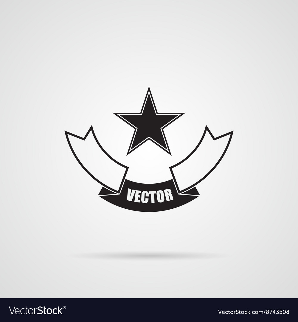 Black gray Star emblem vector image