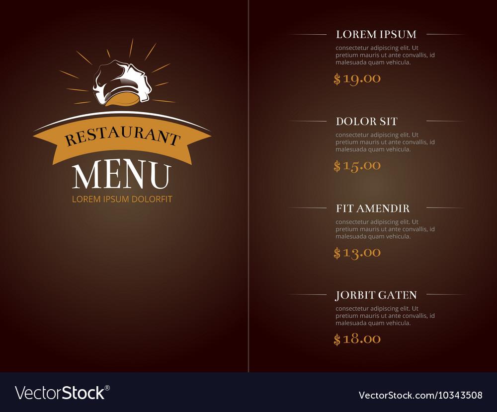 Cafe restaurant menu template identity