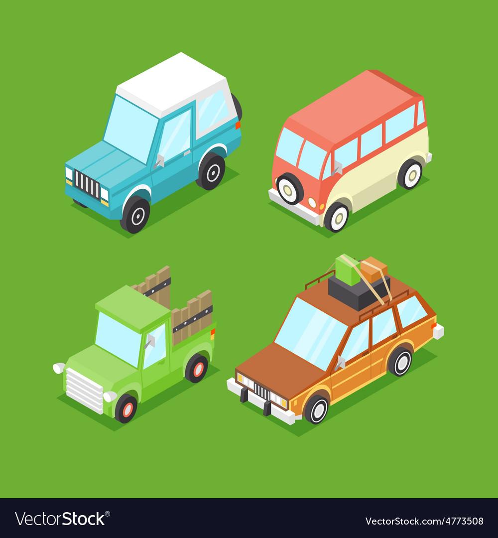 Cartoon Isometric Cars