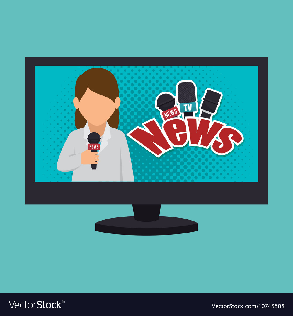 Cartoon Tv News Reporter Woman Graphic Royalty Free Vector