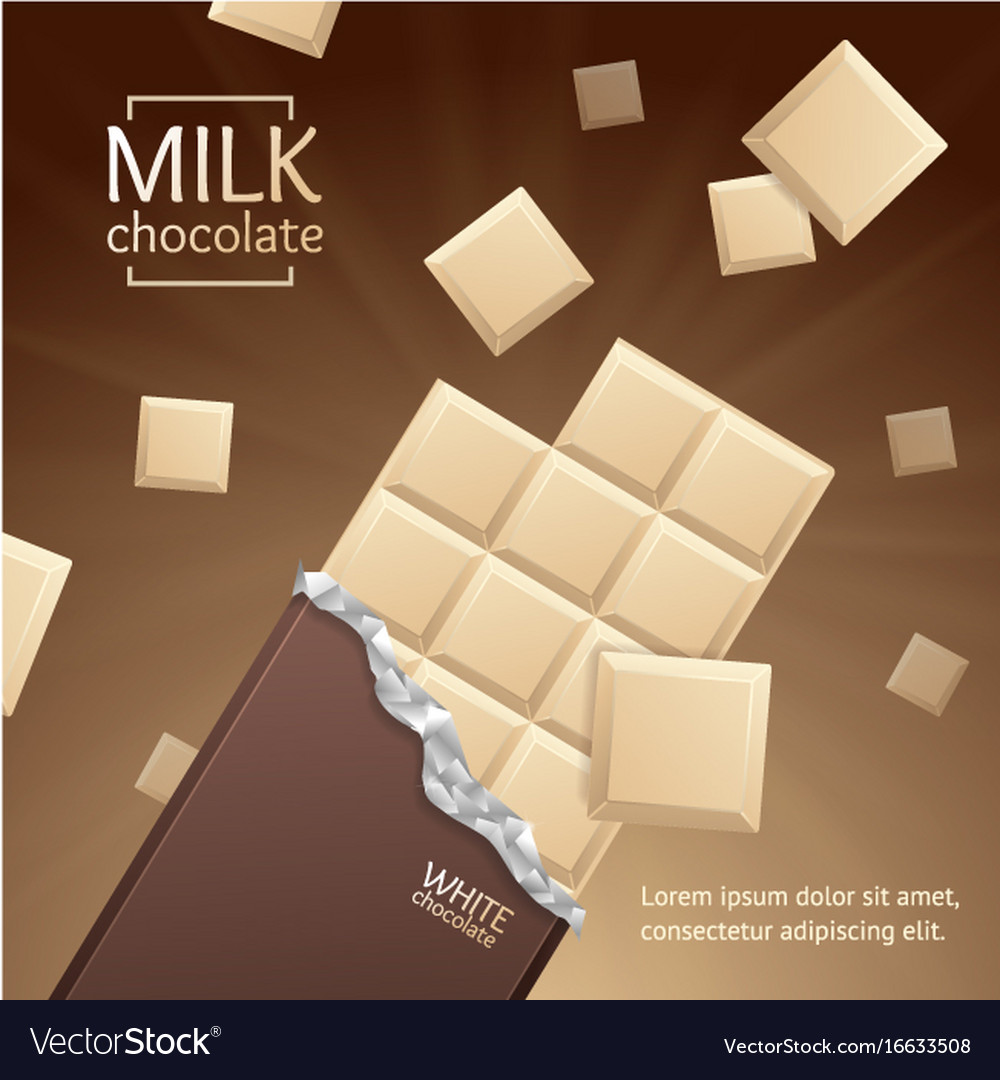 Chocolate package bar blank - white pieces