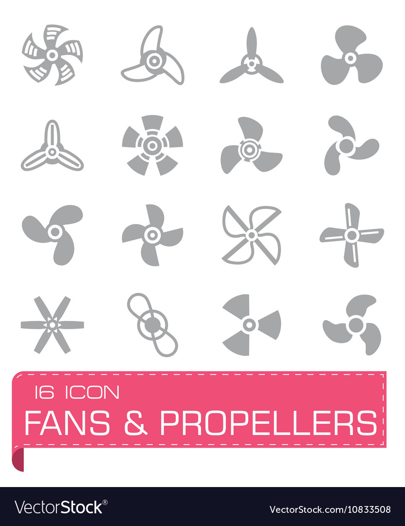 Fans and propellers icon set