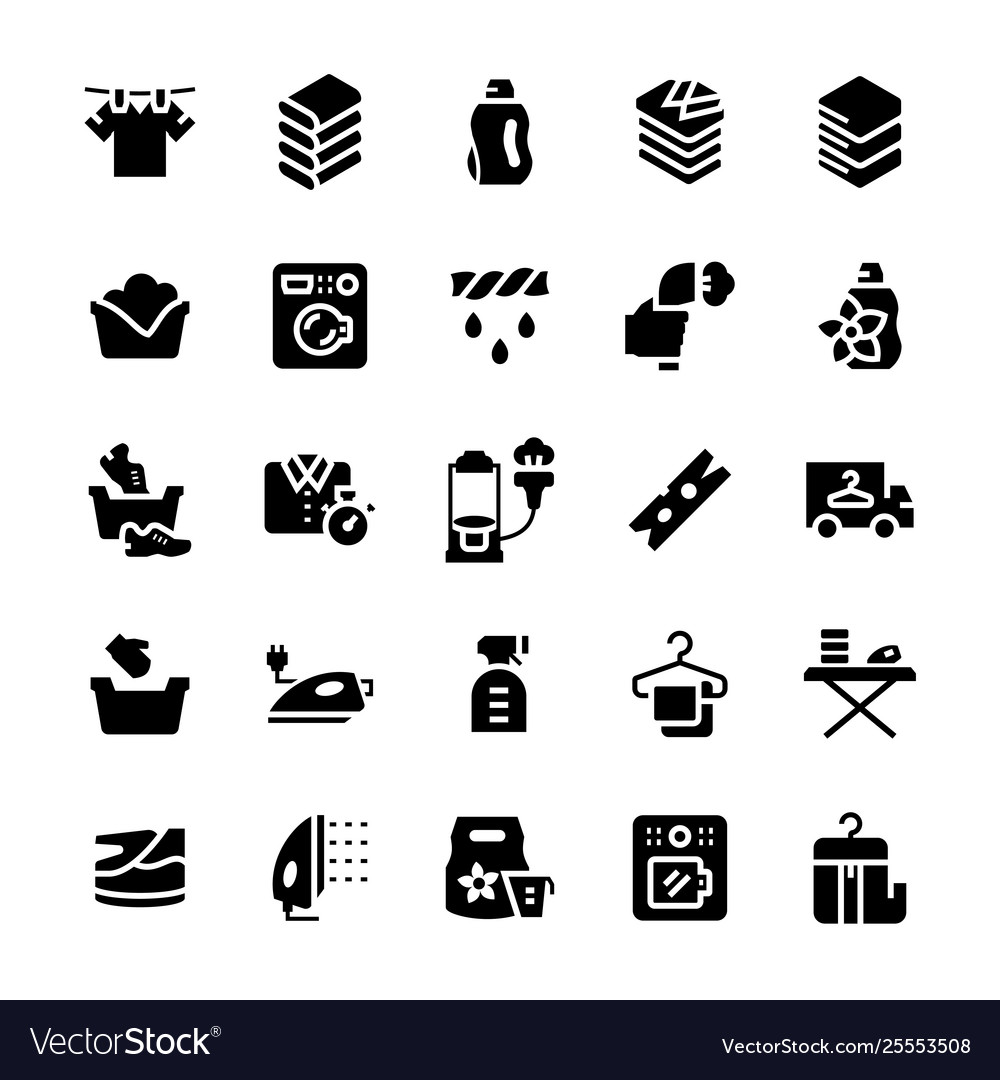 Laundry service icon set in flat style