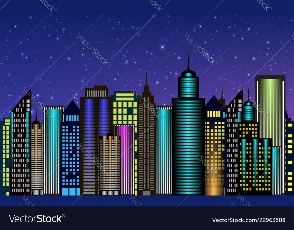 Night city skyscrapers with neon glow