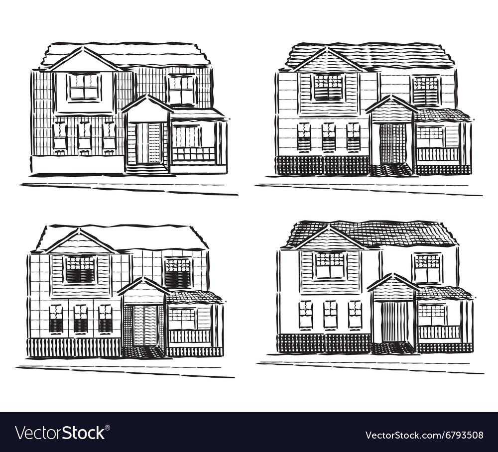 Sketch collection of village buildings
