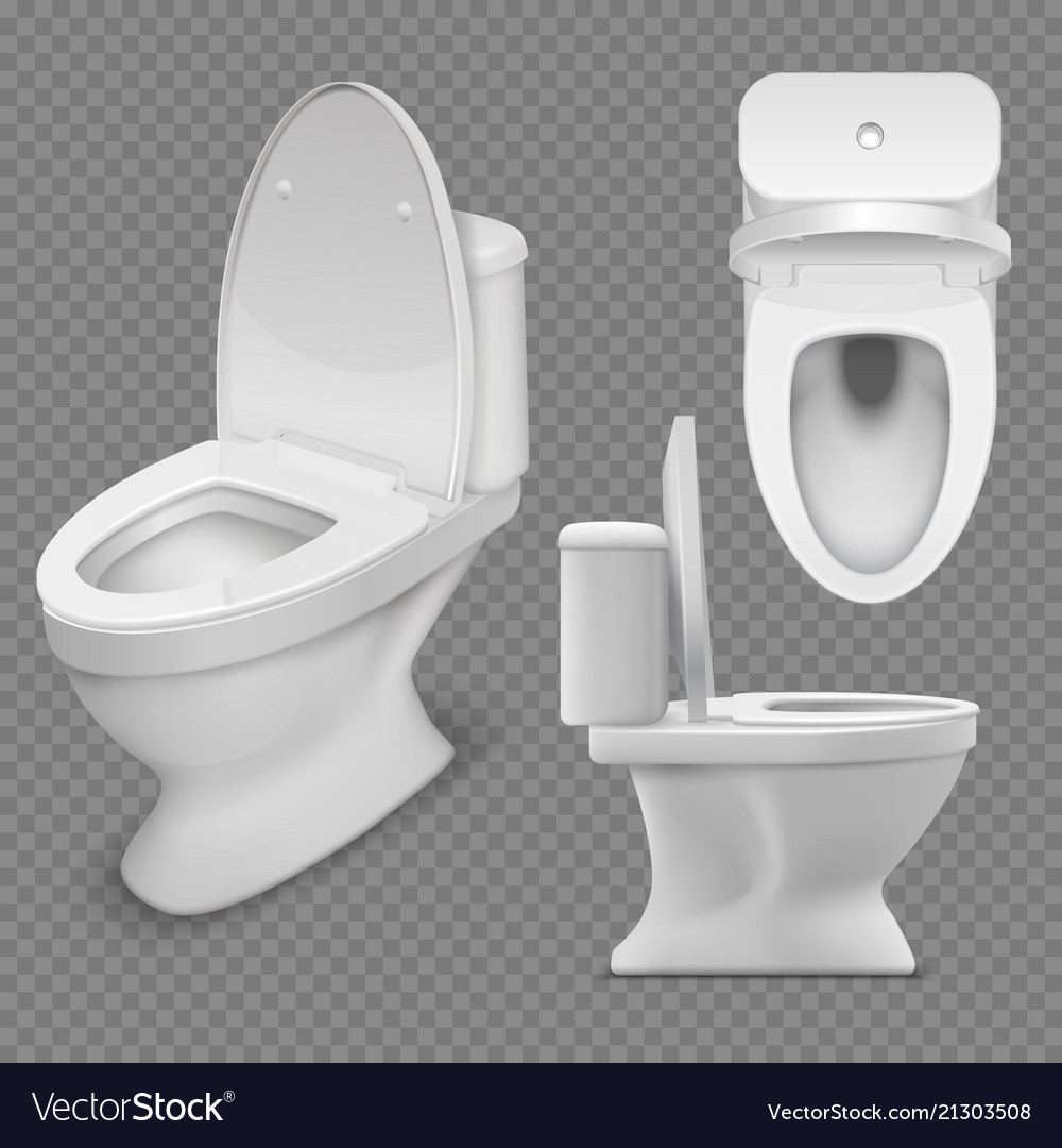 Toilet bowl realistic white home toilet in top Vector Image