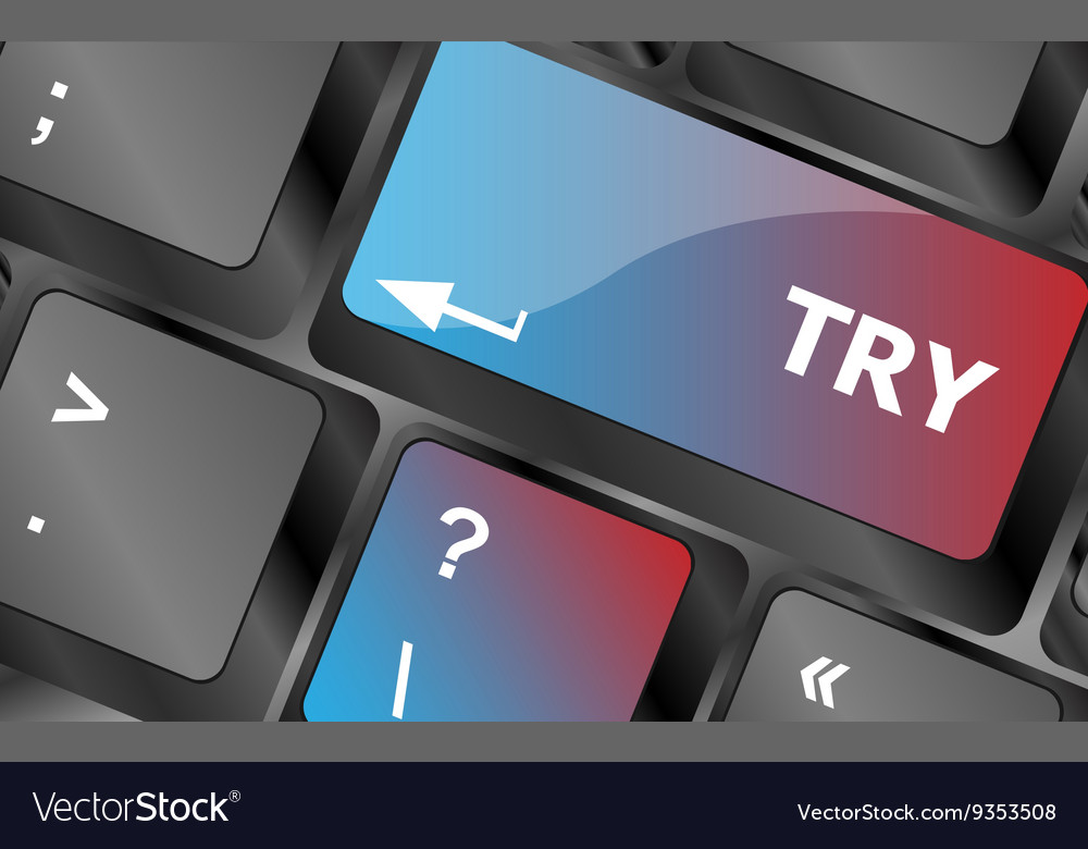 Try button on keyboard key keyboard keys vector image