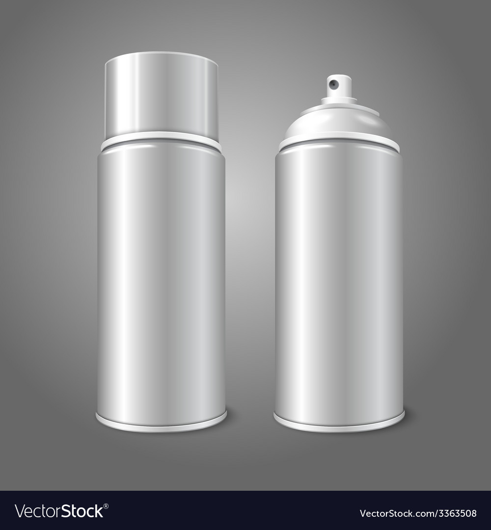 Two blank aerosol spray metal 3D bottle cans