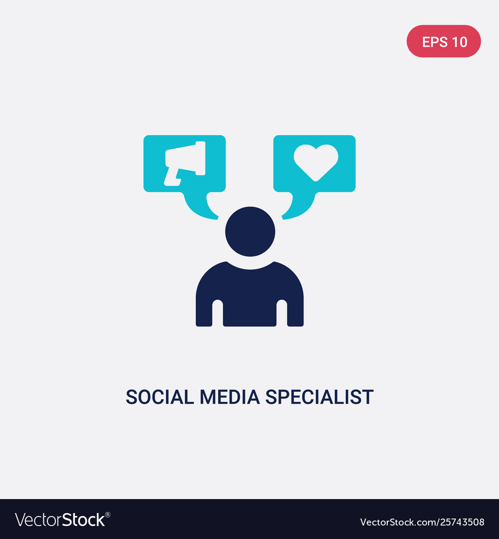 Two Color Social Media Specialist Icon From Vector Image