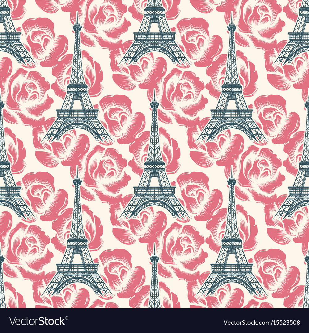 Vintage eiffel tower seamless pattern vector image
