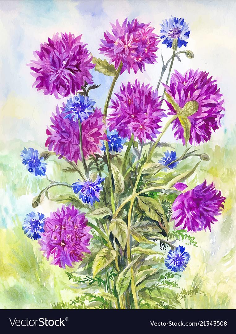 Watercolor Purple Bellflowers Vintage Background Vector Image