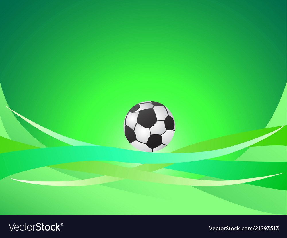 Abstract green curve background with soccer ball