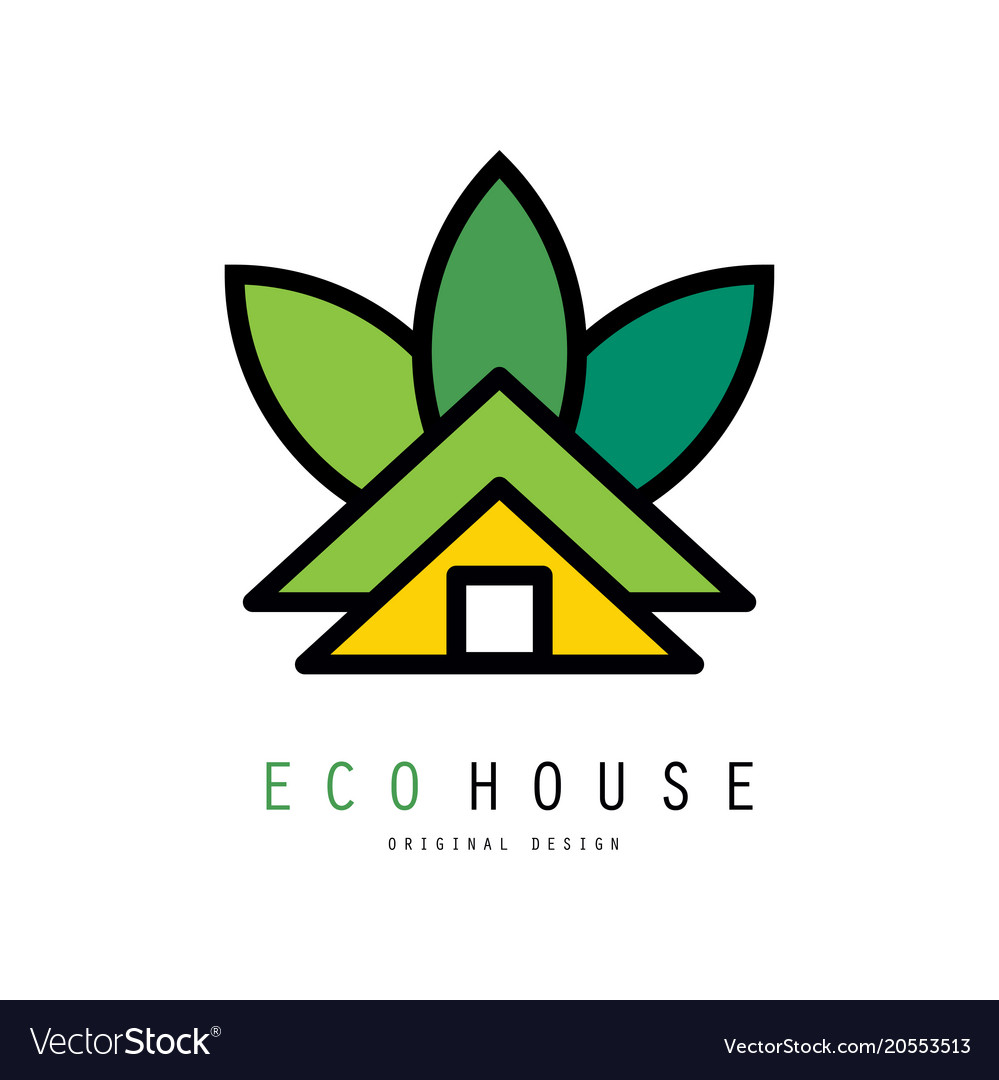 Abstract logo of green house eco friendly
