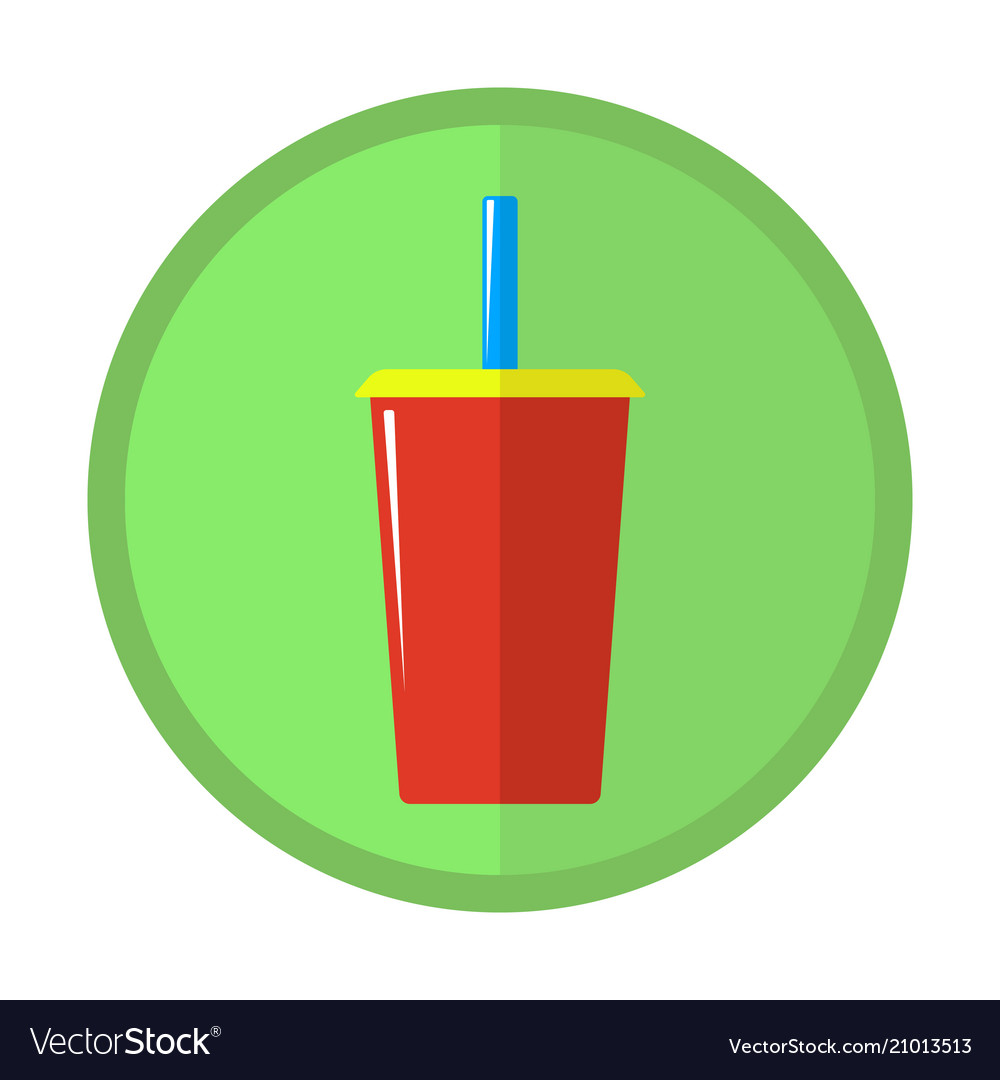 Bright icon with a glass of carbonated drink