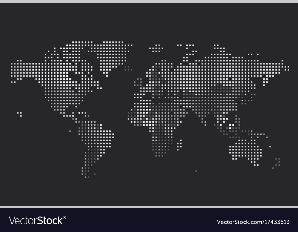 Dotted world map of square dots Royalty Free Vector Image