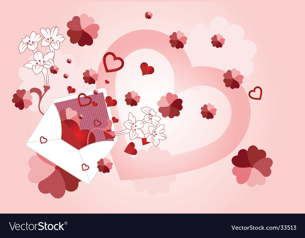 Envelope with floral and heart vector image