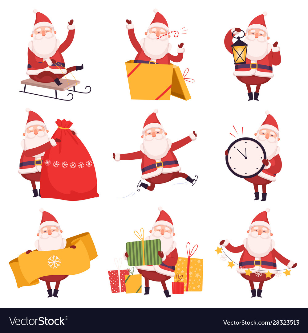 Happy funny santa claus with presents collection