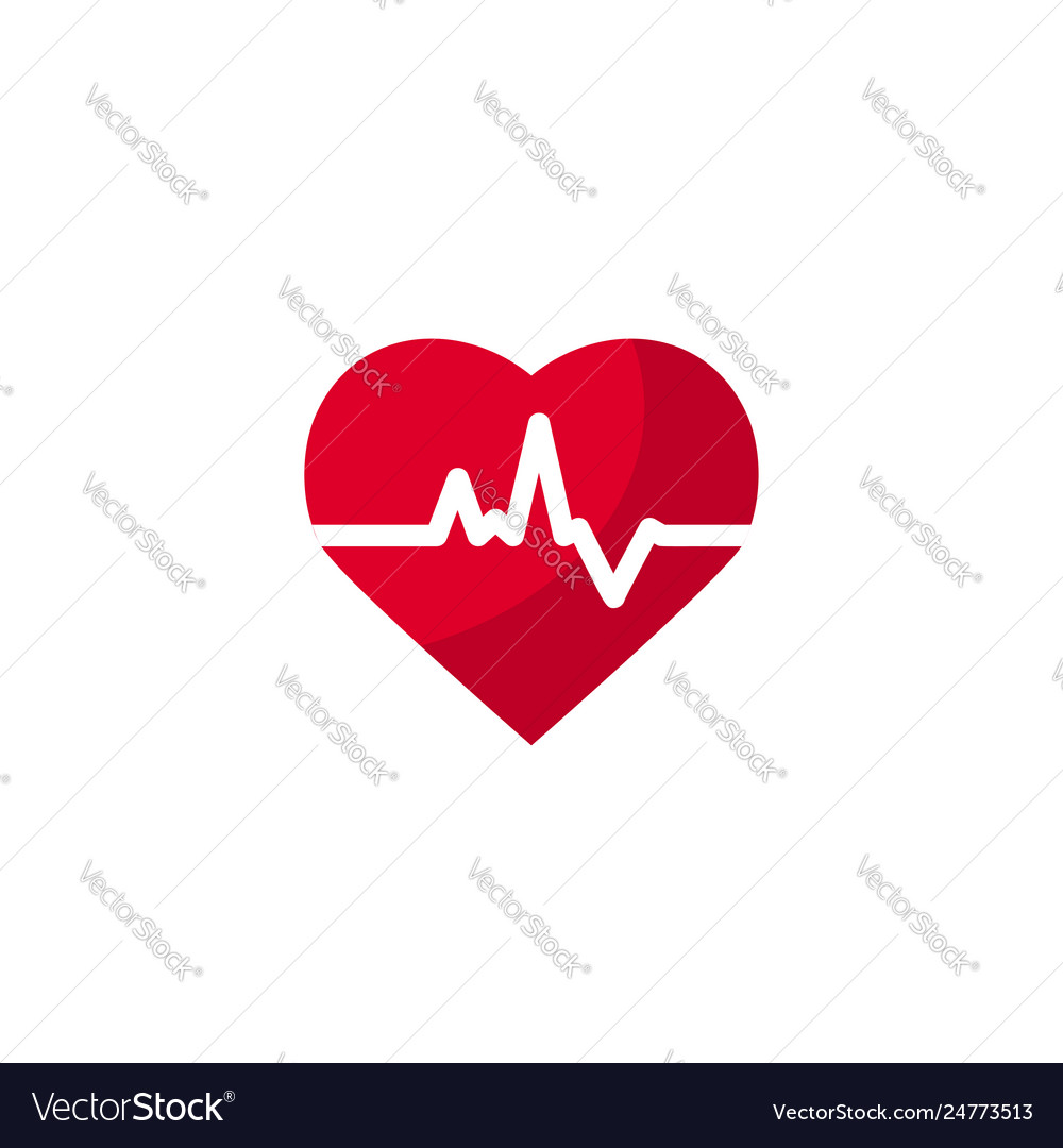 Heart beat concept in flat style