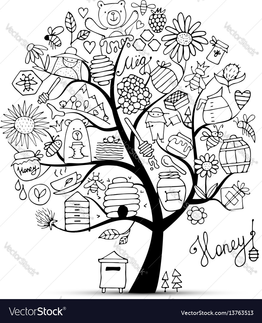 Honey apiary art tree sketch for your design