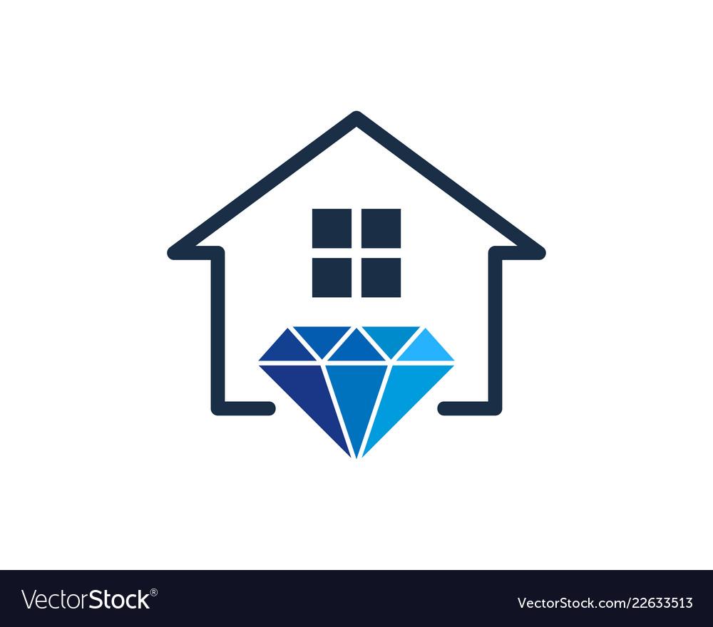 House diamond logo icon design