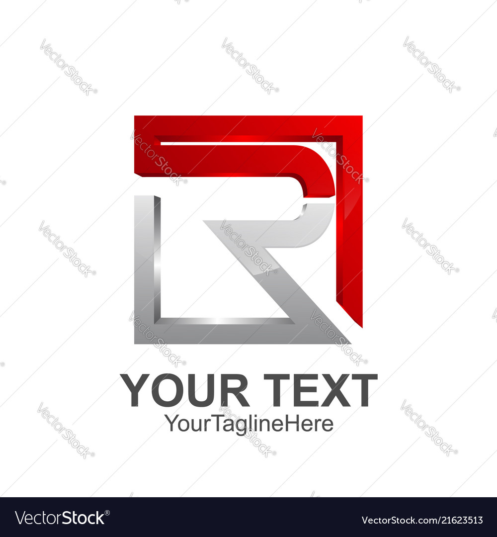 Initial letter r logo template colored red grey