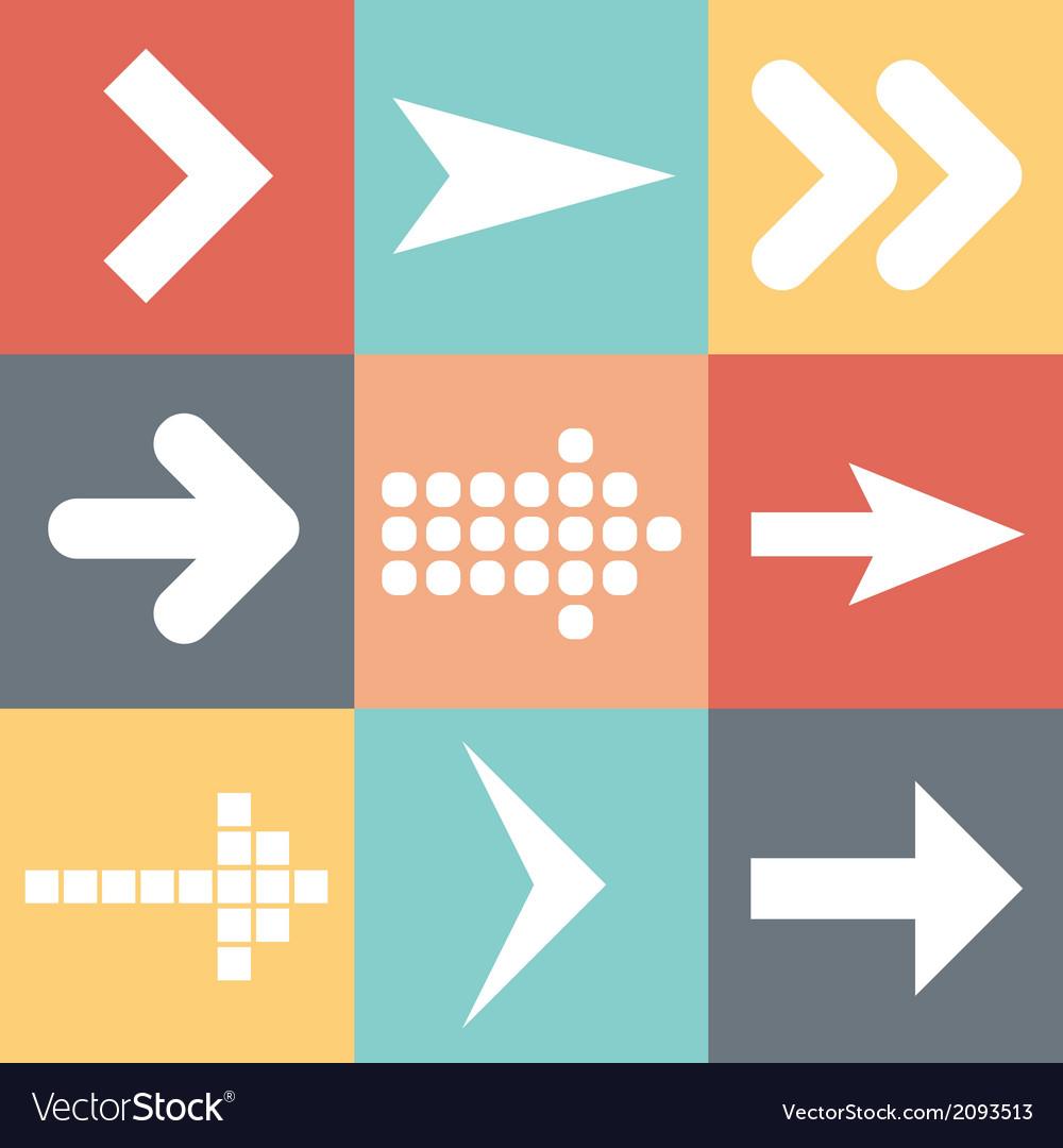 Set arrow icons flat UI web design elements trend vector image